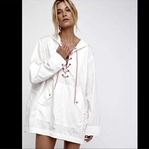 FREE PEOPLE White POPLIN TUNIC jacket lace up M/L